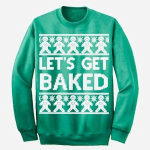 Let's Get Baked Ugly Christmas Sweater Size Medium